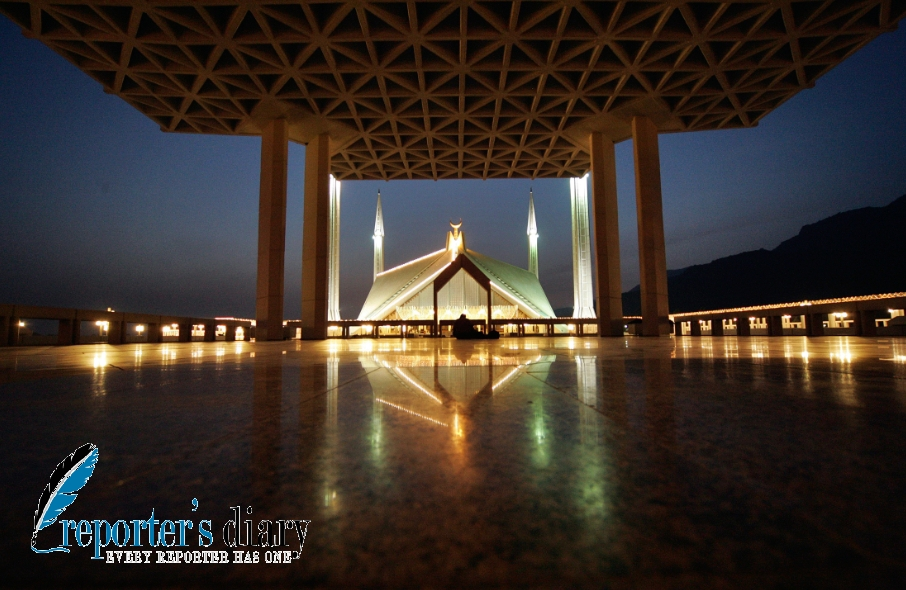 Beautiful illuminated view of Shah Faisal Mosque decorated with lights on 27 Ramadan-ul-Mubarak in Islamabad