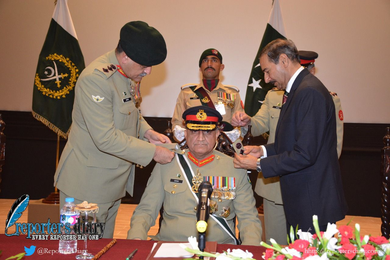 General Bajwa was presented the honour and ranks of Colonel in Chief of Baloch Regiment.