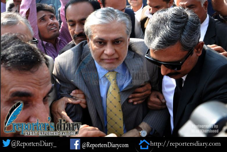 Ishaq Dar at NAB court in Islamabad : Photography by Mian Khursheed
