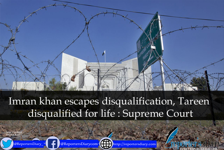 Imran khan escapes disqualification, Tareen disqualified for life : Supreme Court