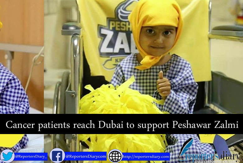 Cancer patients reach Dubai to support Peshawar Zalmi