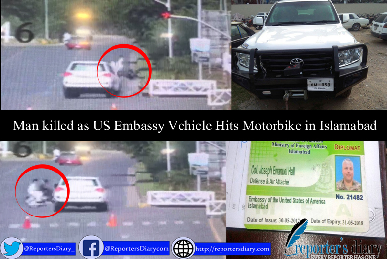 Man killed as US Embassy Vehicle Hits Motorbike in Islamabad