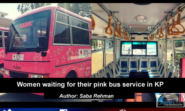 Women waiting for their pink bus service in KP
