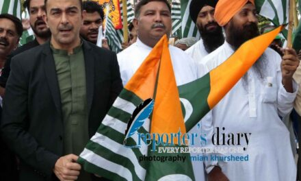 Supporters from Muslim, Christian and Sikh community hold Pakistani and Kashmiri flags & posters to show the solidarity with Jammu Kashmiri people during a Kashmir solidarity Rally on Friday August 23, 2019 in Islamabad. Photography: Mian Khursheed